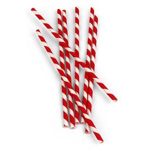 Kikkerland Red Stripe Paper Straw, Set of 24