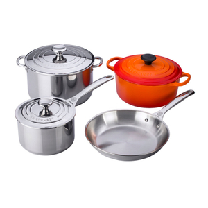 Le Creuset Stainless Steel and Flame Enameled Cast Iron 7 Piece Mixed Cookware Set