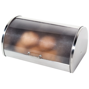 OGGI Satin Finish Stainless Steel Frosted Roll Top Bread Box with Plexiglass Lid