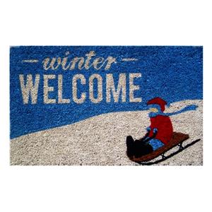 Entryways Winter Welcome Handwoven Coconut Fiber Coir 18 x 30 Inch Doormat