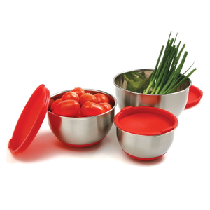 Norpro Stainless Steel 3 Piece Mixing Bowl Set with Red Lids