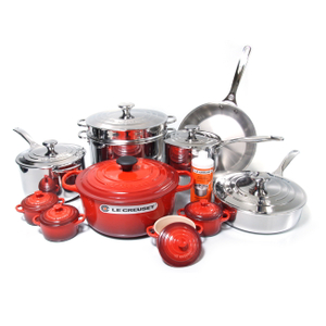 Le Creuset 20 Piece Stainless Steel Cookware Set with Cherry Enameled Cast Iron 5.5 Quart French Oven