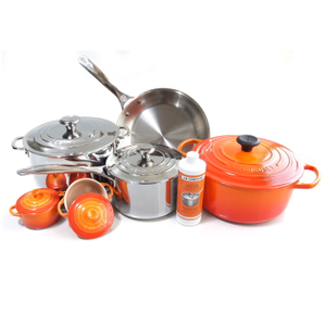 Le Creuset 11 Piece Flame Enameled Cast Iron & Tri-Ply Stainless Steel Cookware Set