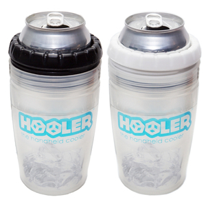 Hooler Double Walled Polypropylene Beverage Cooler with Black Ring and White Ring, 2 Pack
