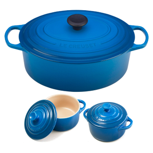 Le Creuset Signature Marseille Blue Enameled Cast Iron 6.75 Quart Oval French Oven with 2 Free Stoneware Cocottes