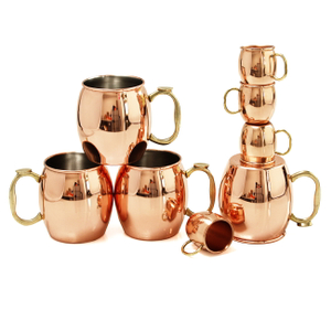 Oggi Moscow Mule 8 Piece Copper-Plated Drinking Mug and Shot Mug Set