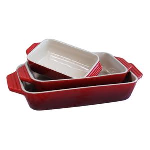 Le Creuset 3 Piece Cherry Stoneware Rectangular Casserole Dish Set
