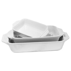 Le Creuset 3 Piece White Stoneware Rectangular Casserole Dish Set