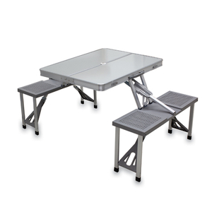 Picnic Time Gray Portable Folding Table With Seats