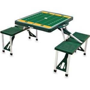Picnic Time Baylor University Bears Hunter Green Aluminum Portable Folding Table with Seats
