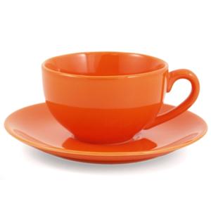 Metropolitan Tea Orange Ceramic Teacup and Saucer Set