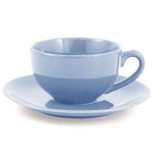 Metropolitan Tea Powder Blue Ceramic Teacup and Saucer Set
