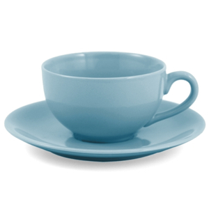 Metropolitan Tea Vivian Teal Ceramic Teacup and Saucer Set