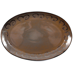 Ambiance Sunburst Brown Glazed Ceramic Platter