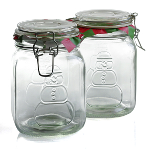 Anchor Hocking Home Collection Heremes Clamp-Top Glass Snowman Storage Container, Set of 4