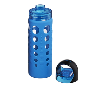 Artland 365 Hydration 20 Ounce Water Bottle with Blue Silicone Sleeve and Screw Cap