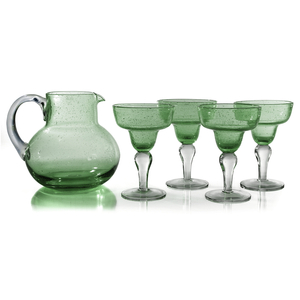 Artland Iris Seeded Light Green 5 Piece Hand Blown Glass 2.8 Quart Pitcher and Margarita Glass Set