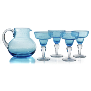 Artland Iris Seeded Turquoise 5 Piece Hand Blown Glass 2.8 Quart Pitcher and Margarita Glass Set