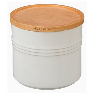 Le Creuset White Stoneware 1.5 Quart Canister with Wooden Lid