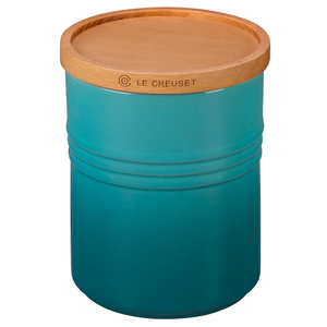 Le Creuset Caribbean Stoneware 2.5 Quart Canister with Wooden Lid