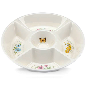 Lenox Butterfly Meadow Melamine 15 Inch 5 Section Divided Server