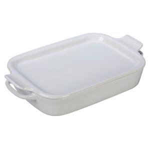 Le Creuset White Stoneware Rectangular Baking Dish with Platter Lid