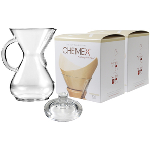 Chemex Glass 40 Ounce Coffee Maker with Cover and 200 Count Bonded Unbleached Pre-Folded Square Coffee Filters