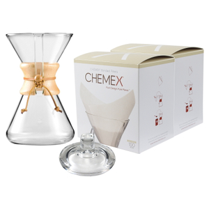 Chemex Wood Collar and Tie Glass 40 Ounce Coffee Maker with Cover and 200 Count Oxygen Cleansed Bonded Square Coffee Filters