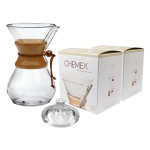 Chemex Classic Wood Collar and Tie Glass 50 Ounce Coffee Maker with Cover and 200 Count Bonded Circle Coffee Filters
