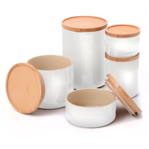Le Creuset White Stoneware 5 Piece Canister with Wooden Lid Set