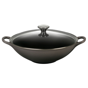 Le Creuset Oyster Enameled Cast Iron 5 Quart Wok with Glass Lid