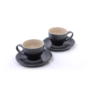 Le Creuset Oyster Stoneware Cappuccino Cup and Saucer Set, Service for 2