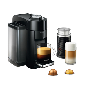 DeLonghi Nespresso Vertuo Black Coffee and Espresso Machine with Aeroccino Milk Frother