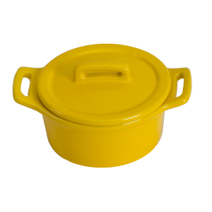 O-Ware Yellow Stoneware Mini Round Baker with Lid