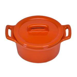 O-Ware Orange Stoneware Mini Round Baker with Lid