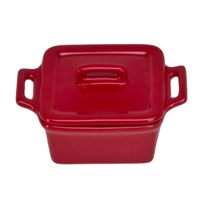 O-Ware Red Stoneware Mini Square Baker with Lid