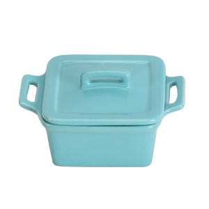 O-Ware Turquoise Stoneware Mini Square Baker with Lid