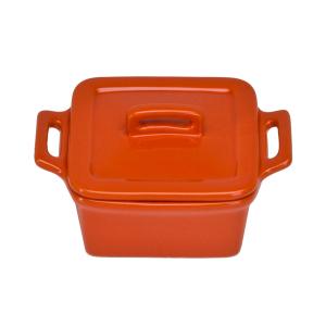 O-Ware Orange Stoneware Mini Square Baker with Lid