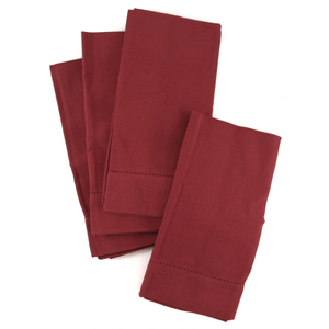 Town and Country Home Red Hemstitch 100% Cotton Dinner Napkins, Set of 6