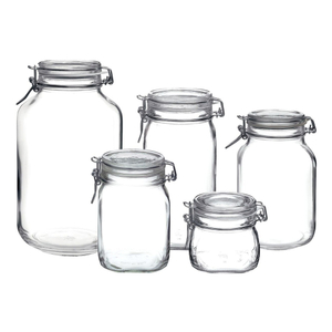 Bormioli Rocco Fido Clear Glass 5 Piece Canning Jar Set