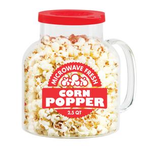 Oggi Glass 2.5 Quart Popcorn Popper with Red Silicone Lid