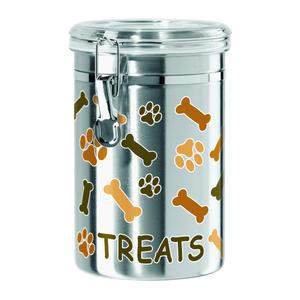 Oggi Bone and Paw Print Stainless Steel 62 Ounce Pet Treat Jar