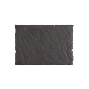 Slayte Fortaluxe Superwhite Black 12 x 8 Inch Rectangular Tray