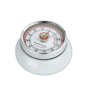 Zassenhaus White Steel Retro Magnetic Kitchen Timer