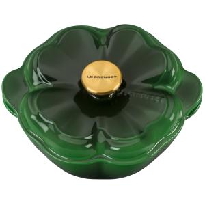 Le Creuset Green Enameled Cast Iron 2.25 Quart Clover Cocotte with Gold Knob