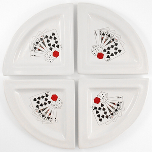 Ceramic Round Serving Dish Poker Royal Flush Set 4 Piece