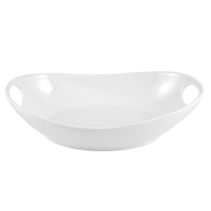 Oval White Porcelain Baking Dish with Handles 11 Inch