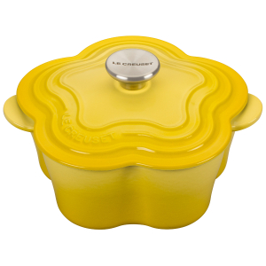 Le Creuset Soleil Enameled Cast Iron 2.25 Quart Flower Cocotte with Stainless Steel Knob
