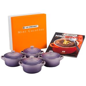 Le Creuset Provence Stoneware 4 Piece Mini Cocotte Set with Cookbook