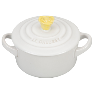 Le Creuset White Stoneware 8 Ounce Mini Round Cocotte with Soleil Flower Knob
